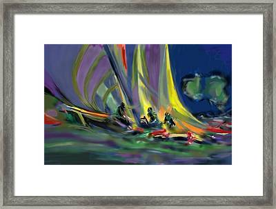 Framed Print featuring the digital art Sailing by Darren Cannell