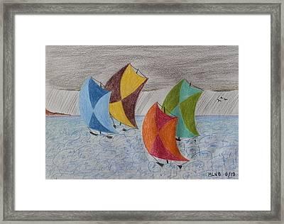 Sailing In The Caribbean Rain Framed Print by Margaret Brooks
