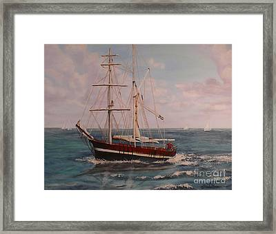 Framed Print featuring the painting Sailing In The Caribean by Terri Thompson