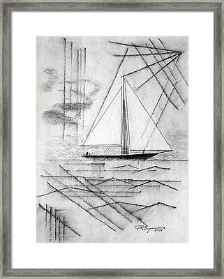Sailing In The City Harbor Framed Print