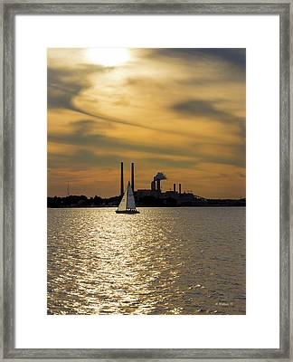 Sailing In The Golden Hour Framed Print