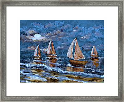 Sailing Into The Blue Moon 2 Framed Print