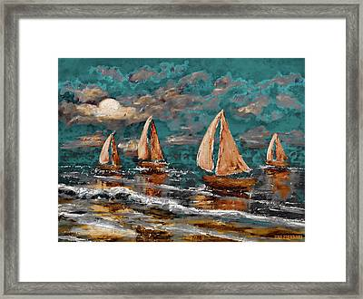 Sailing Into The Blue Moon Framed Print