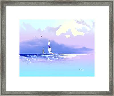 Framed Print featuring the painting Sailing Into The Blue by Sena Wilson