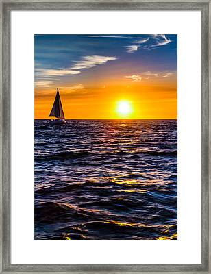 Sailing Into The Sunset Framed Print by Tommy Farnsworth