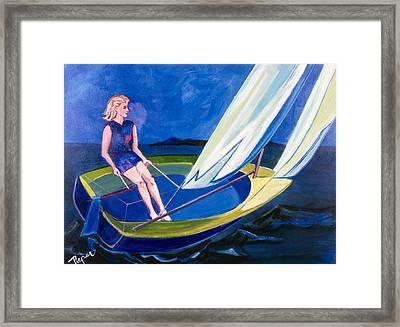 Sailing Off Nantucket Framed Print by Betty Pieper
