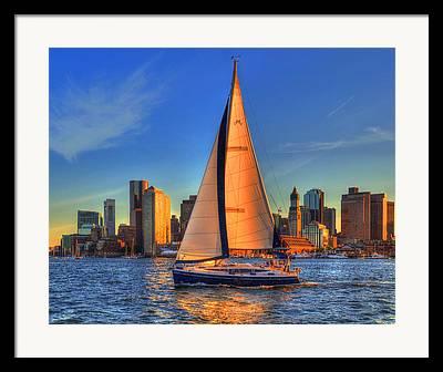Sailboats In Harbor Photographs Framed Prints