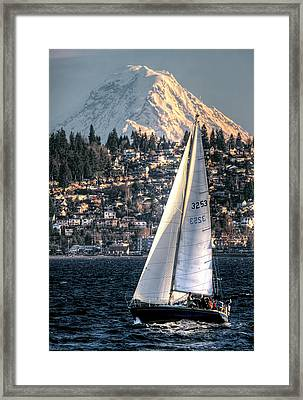 Sailing On Elliot Bay, Seattle, Wa Framed Print