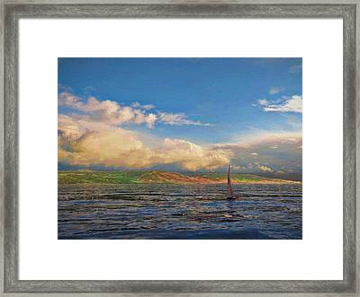 Sailing On Galilee Framed Print by Dave Luebbert