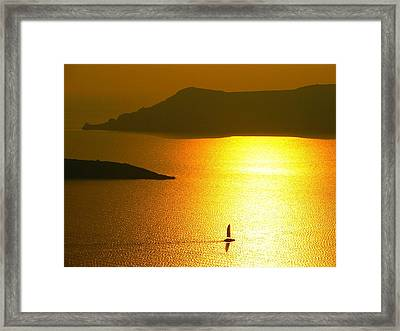 Framed Print featuring the photograph Sailing On Gold 1 by Ana Maria Edulescu