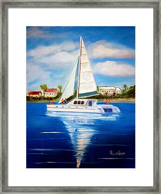 Sailing Paradise Island Bahamas Framed Print by Phil Burton