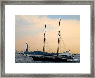 Sailing Past Miss Liberty Framed Print by Randall Weidner