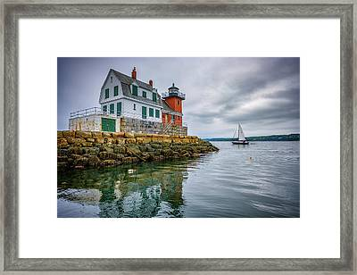 Framed Print featuring the photograph Sailing Past The Breakwater by Rick Berk