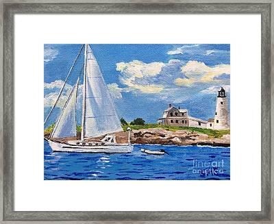 Sailing Past Wood Island Lighthouse Framed Print