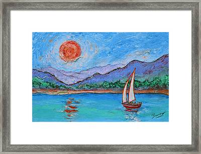 Framed Print featuring the painting Sailing Red Sun by Xueling Zou