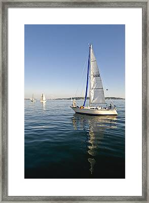 Sailing Reflection Framed Print by Tom Dowd