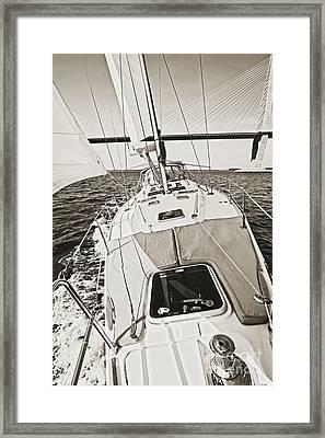 Sailing Sailboat Charleston Sc Bridge Framed Print