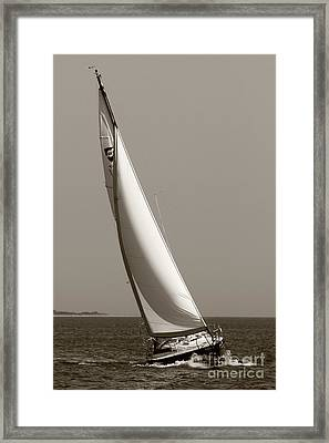 Sailing Sailboat Sloop Beating To Windward Framed Print