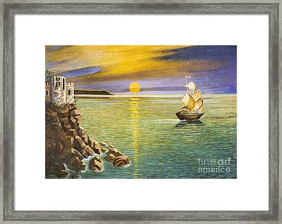 Sailing Ship And Castle Framed Print