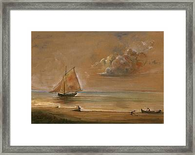 Sailing Ship At Sunset Framed Print