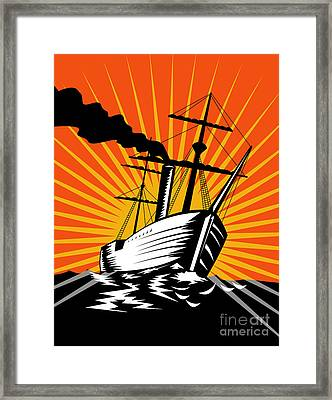 Sailing Ship Retro Woodcut Framed Print by Aloysius Patrimonio