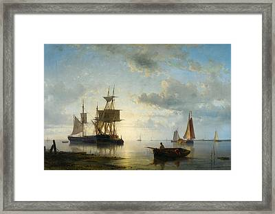 Sailing Ships At Dusk Framed Print