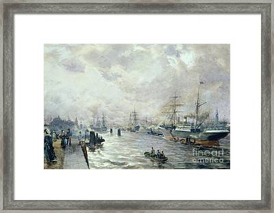 Sailing Ships In The Port Of Hamburg Framed Print