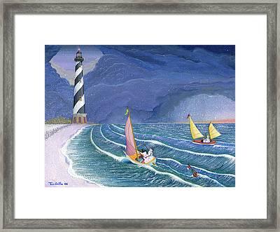 Sailing Snowmen Framed Print by Thomas Griffin