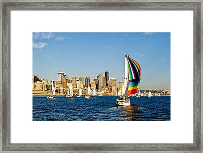Sailing Some Color To Seattle Framed Print by Tom Dowd