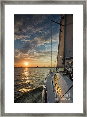 Sailing Sunset On The Charleston Harbor Beneteau 49 Framed Print by Dustin K Ryan