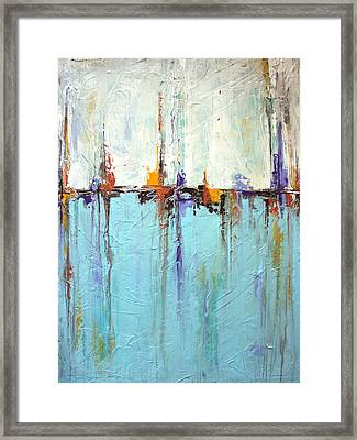 Sailing Texture White And Blue Abstract Painting Framed Print by Liz Moran