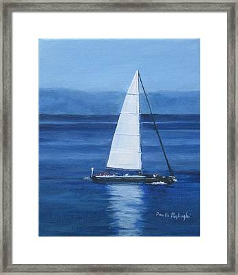 Sailing The Blues Framed Print