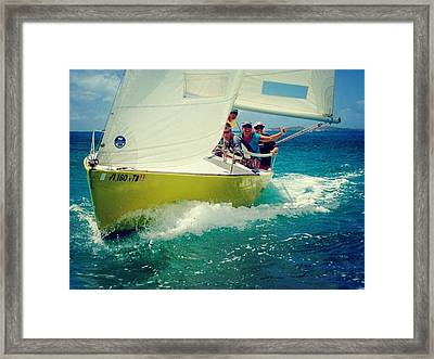Sailing The Boat Over The Caribbean Ocean Framed Print by Peter Parker