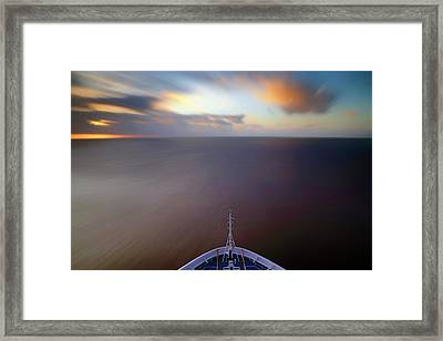 Framed Print featuring the photograph Sailing The Caribbean - Cruise Ship - Sunrise - Seascape by Jason Politte