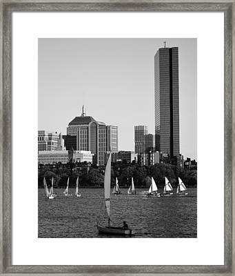 Sailing The Charles River Boston Ma Black And White Framed Print