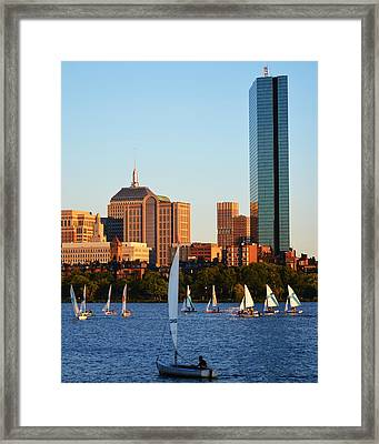 Sailing The Charles River Boston Ma Framed Print by Toby McGuire