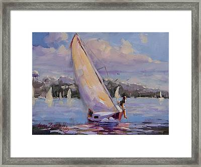 Sailing The Islands Of Boston Framed Print