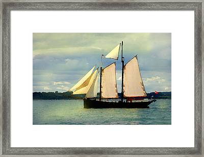 Framed Print featuring the digital art Sailing The Sunny Sea by Shelli Fitzpatrick