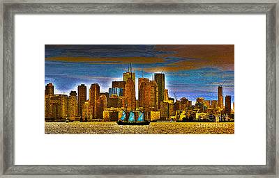 Sailing Through The City Of Gold Framed Print