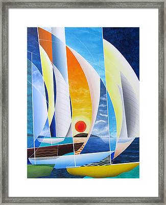Framed Print featuring the painting Sailing Till Sunset by Douglas Pike
