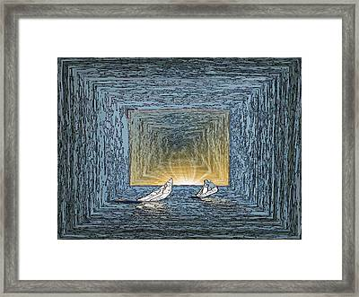 Sailing To The Edge Of The Sunset Framed Print by Tim Allen