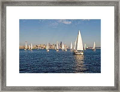 Sailing To The Space Needle Framed Print by Tom Dowd