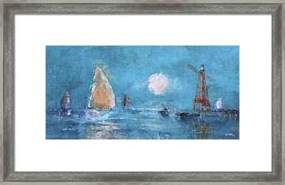 Sailing Under Moon Framed Print
