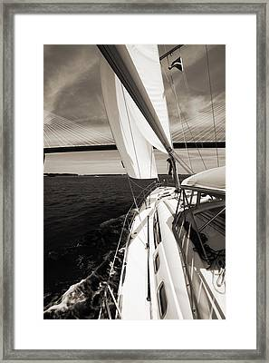 Sailing Under The Arthur Ravenel Jr. Bridge In Charleston Sc Framed Print