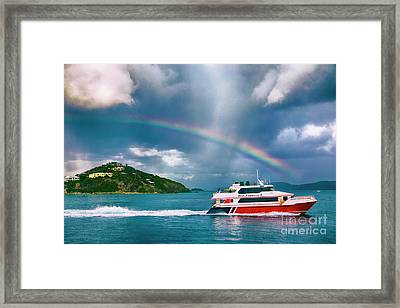 Sailing Under The Rainbow Framed Print by Mariola Bitner