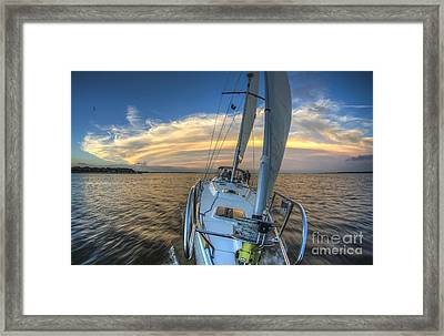 Sailing Yacht And Tropical Storm Ana Outflow  Framed Print by Dustin K Ryan