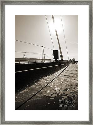 Sailing Yacht Hanuman J Boat Bow Framed Print by Dustin K Ryan