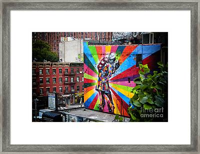Sailor Kissing Nurse Graffiti Framed Print