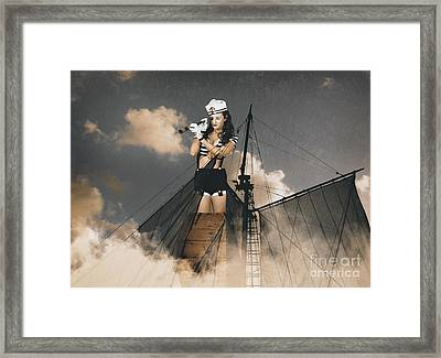 Sailor Pinup Girl On Lookout From Ships Crows-nest Framed Print by Jorgo Photography - Wall Art Gallery