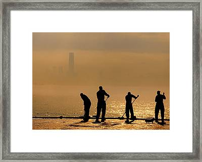 Sailors On Duty Framed Print by Celestial Images